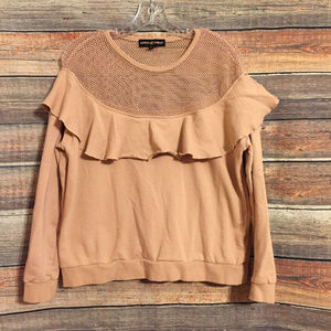Almost famous ruffle blush sweatshirt
